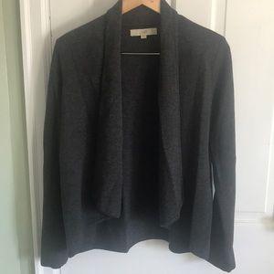 Gray draped front cardigan